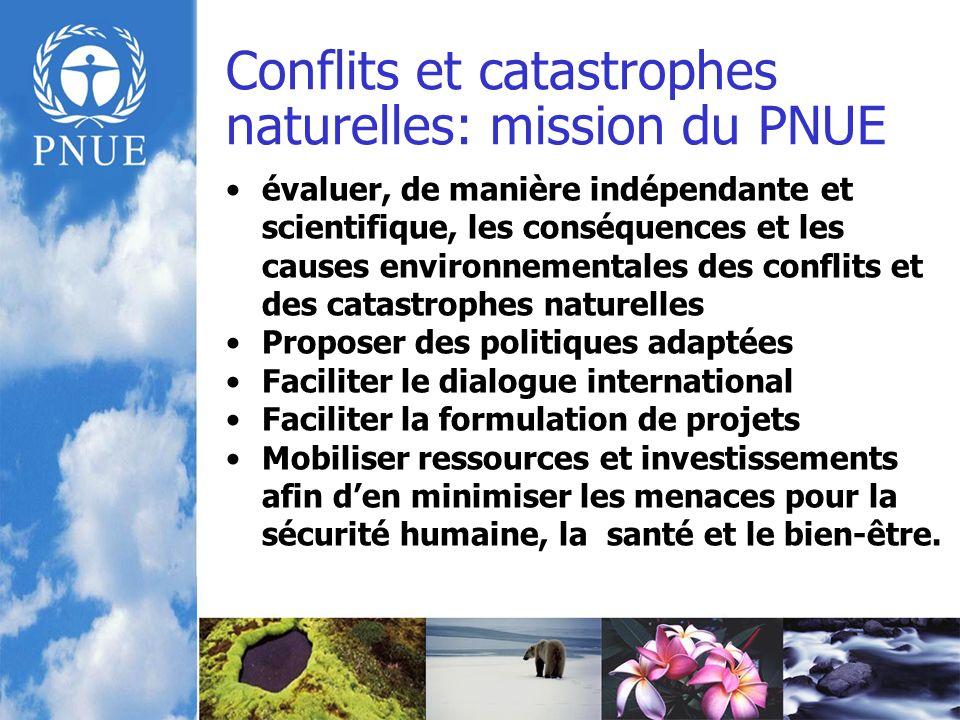 Face à une situation de crise, les objectifs sont : Renforcer les capacités daction durgence, et de gouvernance environnementale au niveau national Promouvoir une bonne gestion environnementale comme condition dune reconstruction durable Utiliser lenvironnement comme outil de prévention des conflits et de consolidation de la paix