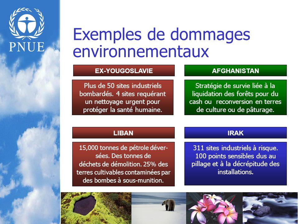 Exemples de dommages environnementaux Plus de 50 sites industriels bombardés.