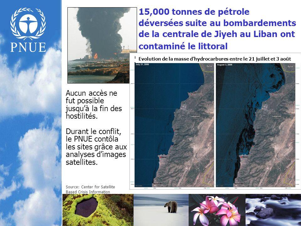 15,000 tonnes de pétrole déversées suite au bombardements de la centrale de Jiyeh au Liban ont contaminé le littoral Aucun accès ne fut possible jusquà la fin des hostilités.