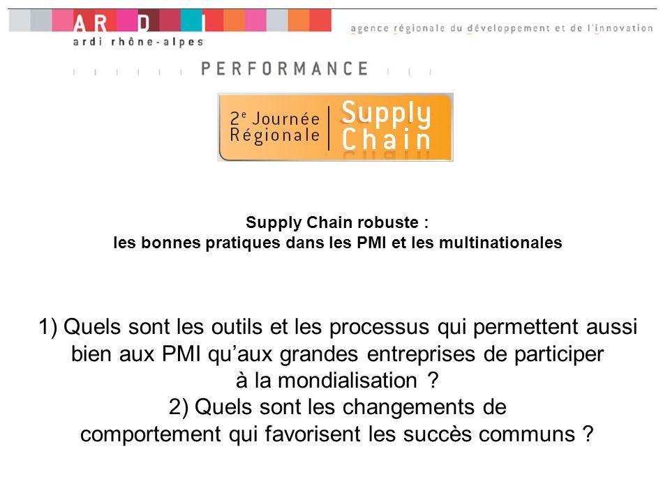 Supply Chain robuste : les bonnes pratiques dans les PMI et les multinationales 1) Quels sont les outils et les processus qui permettent aussi bien aux PMI quaux grandes entreprises de participer à la mondialisation .