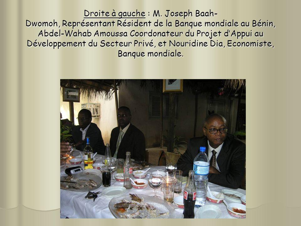 Droite à gauche : M. Joseph Baah- Dwomoh, Représentant Résident de la Banque mondiale au Bénin, Abdel-Wahab Amoussa Coordonateur du Projet dAppui au D