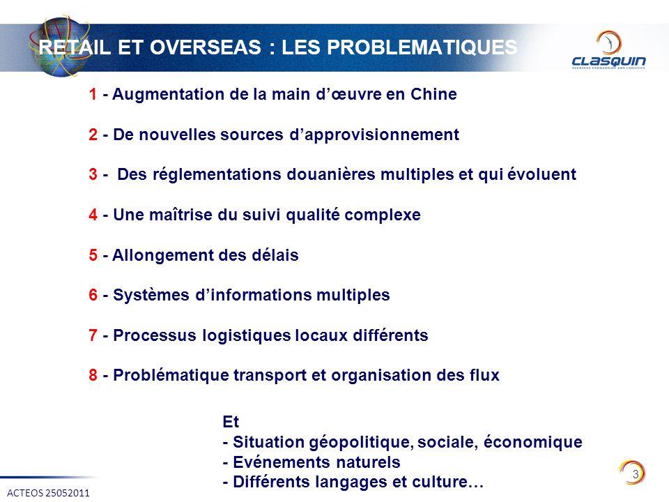 RETAIL ET OVERSEAS : LES PROBLEMATIQUES 3 ACTEOS 25052011 1 - Augmentation de la main dœuvre en Chine 2 - De nouvelles sources dapprovisionnement 3 -