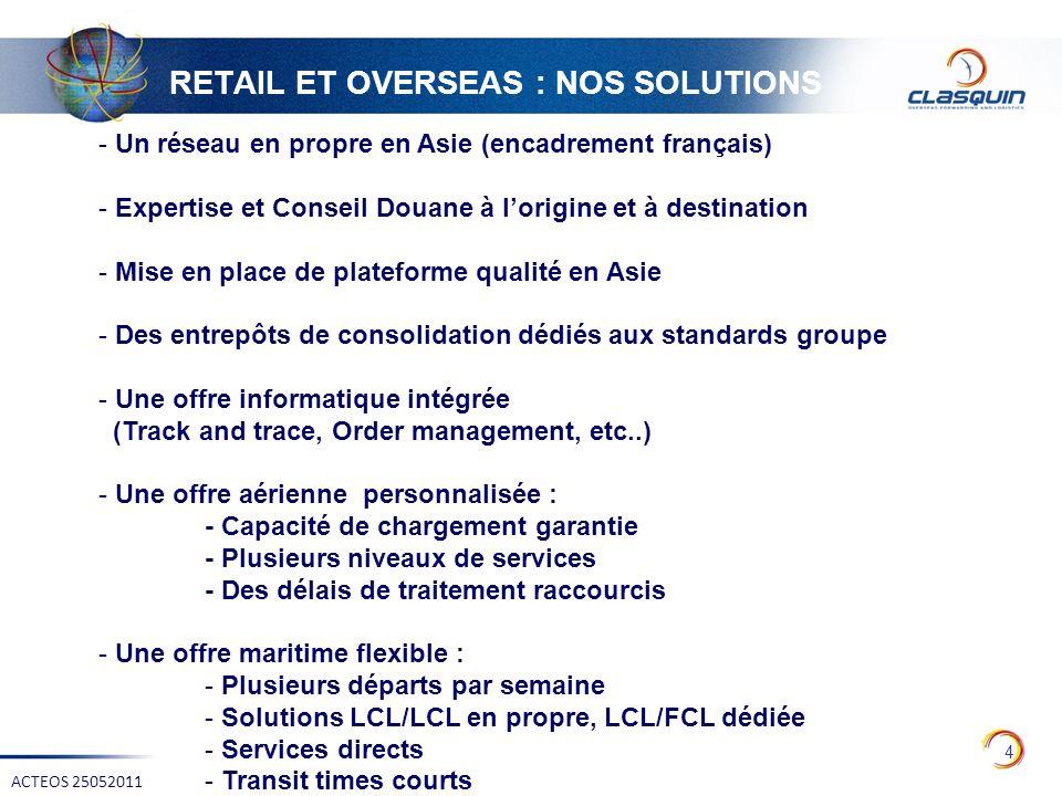 RETAIL ET OVERSEAS : NOS SOLUTIONS 4 ACTEOS 25052011 - Un réseau en propre en Asie (encadrement français) - Expertise et Conseil Douane à lorigine et