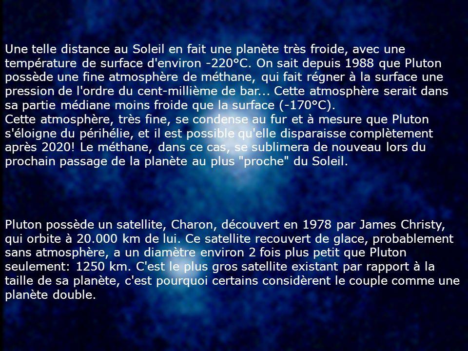 Une telle distance au Soleil en fait une planète très froide, avec une température de surface d'environ -220°C. On sait depuis 1988 que Pluton possède