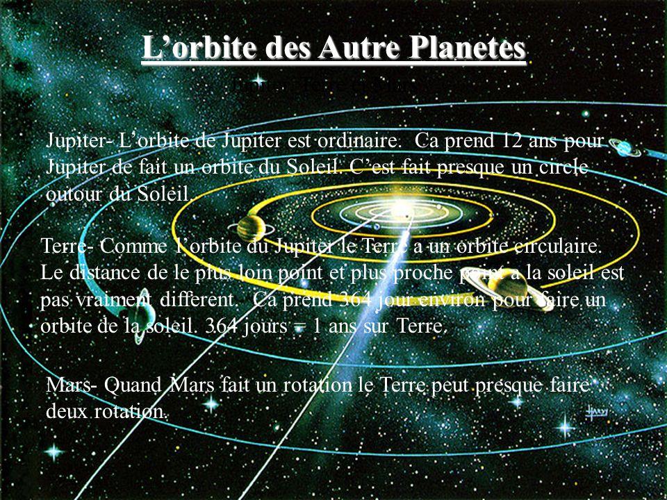 Jupiter- Lorbite de Jupiter est ordinaire. Ca prend 12 ans pour Jupiter de fait un orbite du Soleil. Cest fait presque un circle outour du Soleil. Ter
