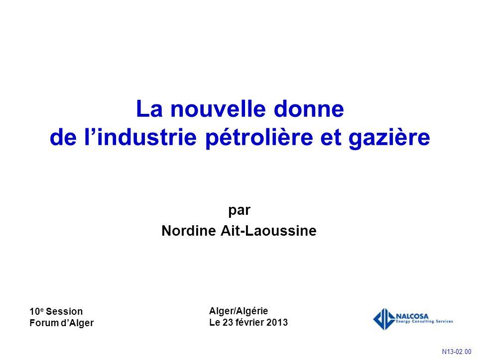 La nouvelle donne de lindustrie pétrolière et gazière par Nordine Ait-Laoussine Alger/Algérie Le 23 février 2013 N13-02.00 10 e Session Forum dAlger