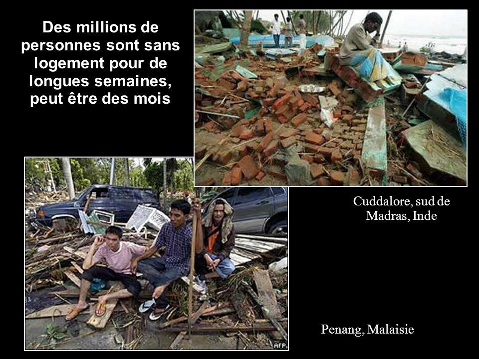 Des millions de personnes sont sans logement pour de longues semaines, peut être des mois Cuddalore, sud de Madras, Inde Penang, Malaisie