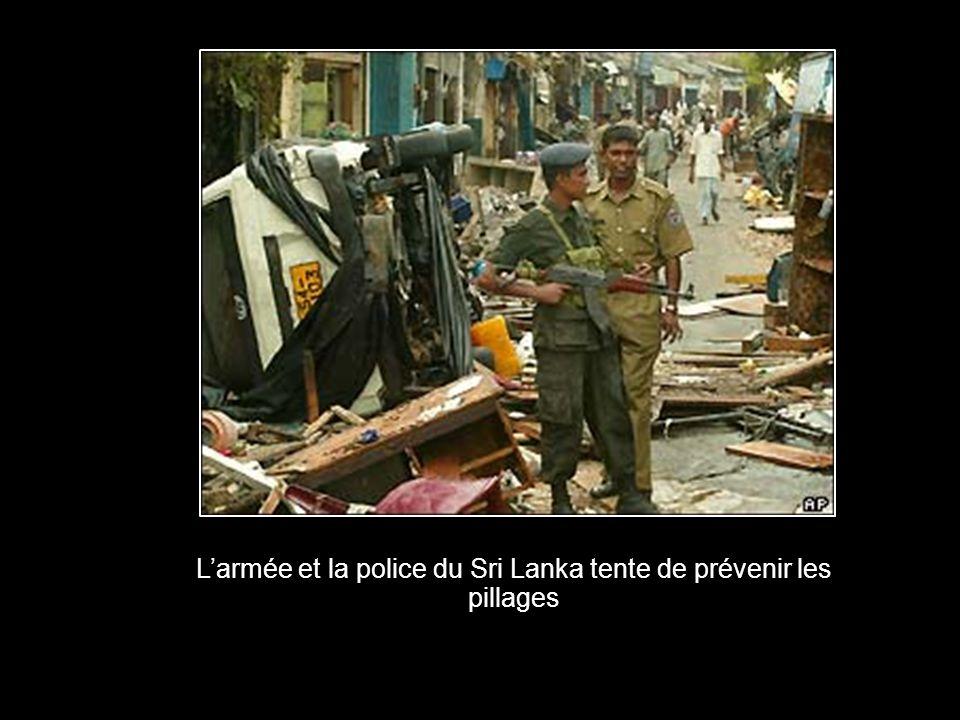 Larmée et la police du Sri Lanka tente de prévenir les pillages