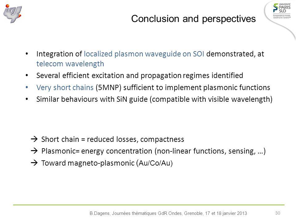 B.Dagens, Journées thématiques GdR Ondes, Grenoble, 17 et 18 janvier 2013 30 Conclusion and perspectives Integration of localized plasmon waveguide on