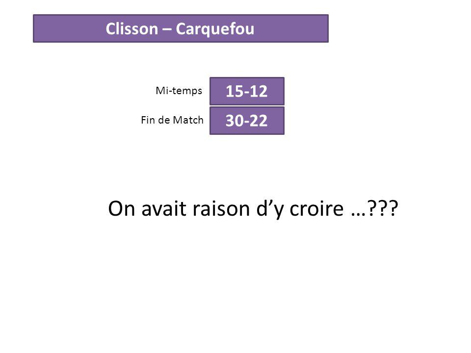Clisson – Carquefou 15-12 Mi-temps 30-22 Fin de Match On avait raison dy croire …???
