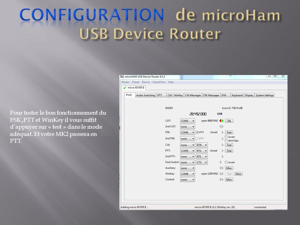 Pour tester le bon fonctionnement du FSK,PTT et WinKey il vous suffit dappuyer sur « test » dans le mode adéquat. Et votre MK2 passera en PTT.
