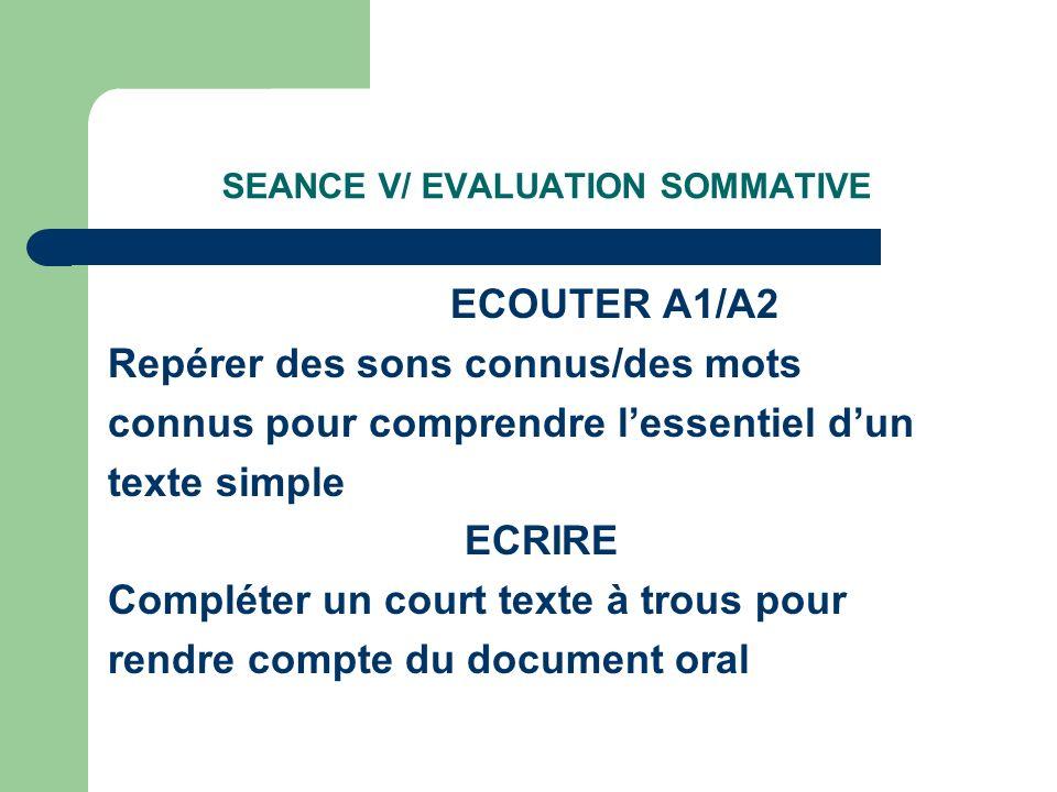 SEANCE V/ EVALUATION SOMMATIVE ECOUTER A1/A2 Repérer des sons connus/des mots connus pour comprendre lessentiel dun texte simple ECRIRE Compléter un court texte à trous pour rendre compte du document oral