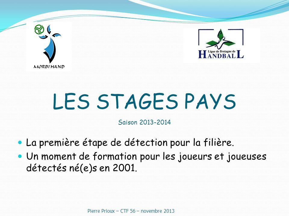 LES STAGES PAYS Saison 2013-2014 La première étape de détection pour la filière.