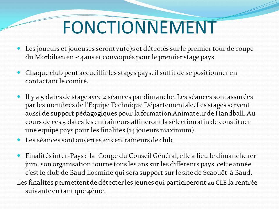 FONCTIONNEMENT Les joueurs et joueuses seront vu(e)s et détectés sur le premier tour de coupe du Morbihan en -14ans et convoqués pour le premier stage pays.