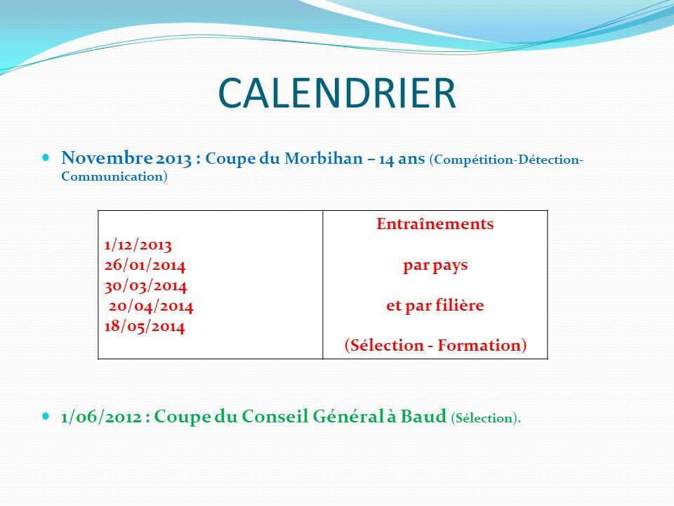 CALENDRIER Novembre 2013 : Coupe du Morbihan – 14 ans (Compétition-Détection- Communication) 1/06/2012 : Coupe du Conseil Général à Baud (Sélection).