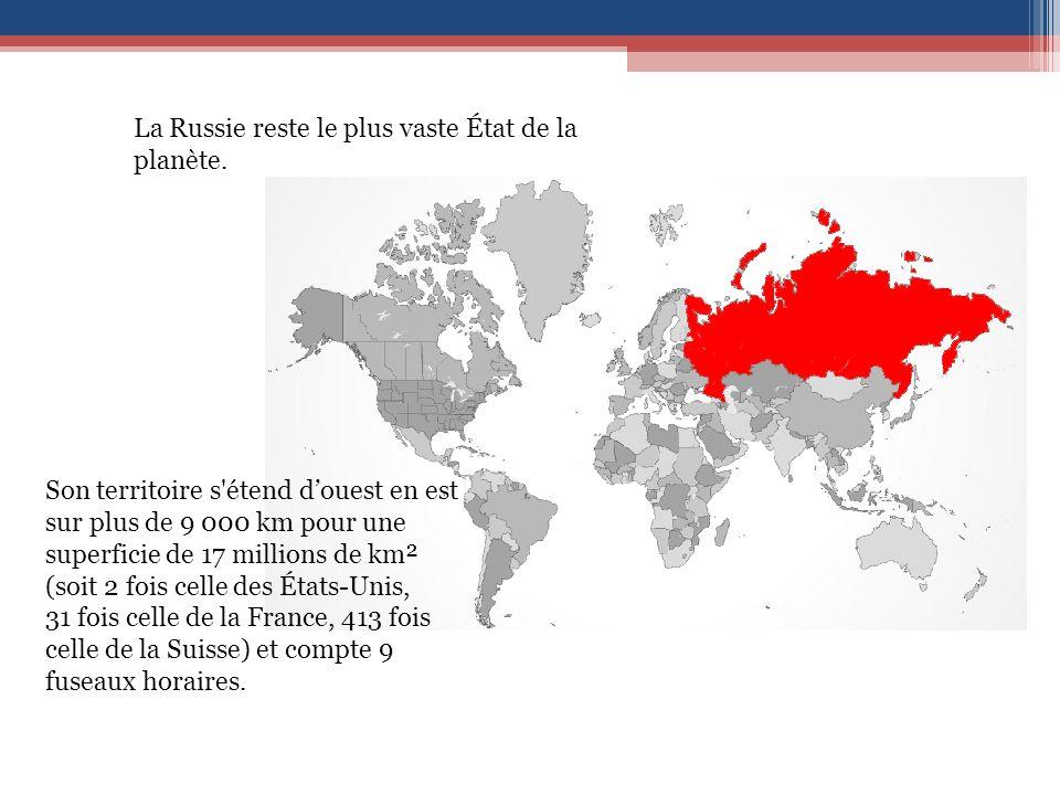 La Russie reste le plus vaste État de la planète.