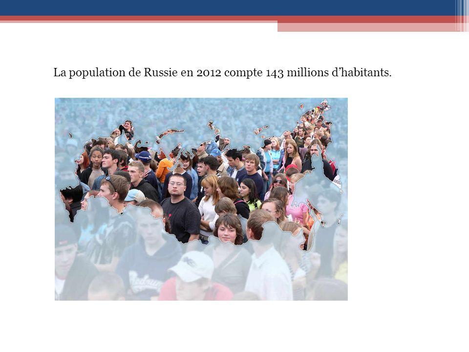 La population de Russie en 2012 compte 143 millions dhabitants.