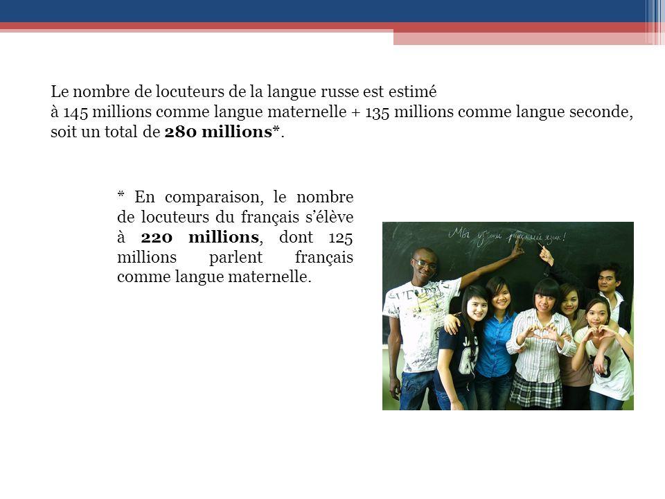 Le nombre de locuteurs de la langue russe est estimé à 145 millions comme langue maternelle + 135 millions comme langue seconde, soit un total de 280 millions*.