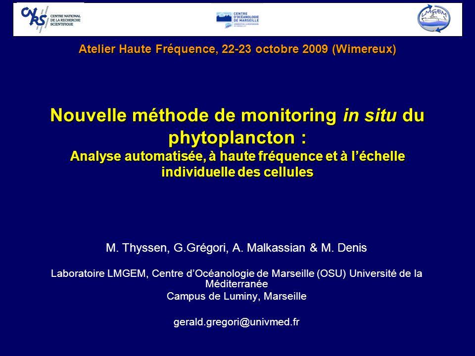 Nouvelle méthode de monitoring in situ du phytoplancton : Analyse automatisée, à haute fréquence et à léchelle individuelle des cellules M. Thyssen, G