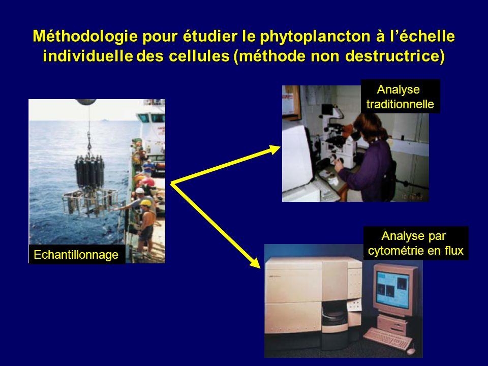 Méthodologie pour étudier le phytoplancton à léchelle individuelle des cellules (méthode non destructrice) Echantillonnage Analyse traditionnelle Anal