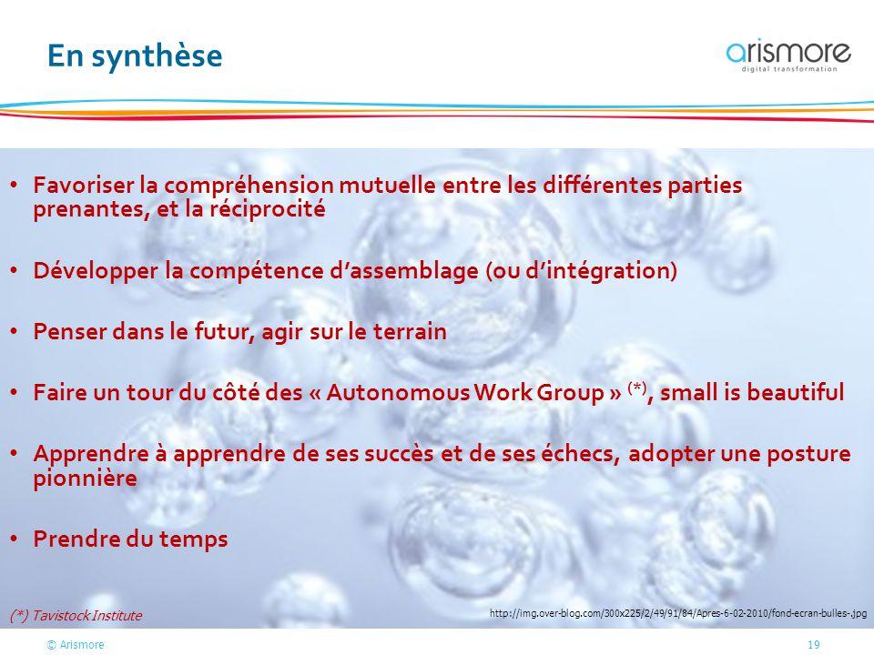 © Arismore19 En synthèse Favoriser la compréhension mutuelle entre les différentes parties prenantes, et la réciprocité Développer la compétence dasse