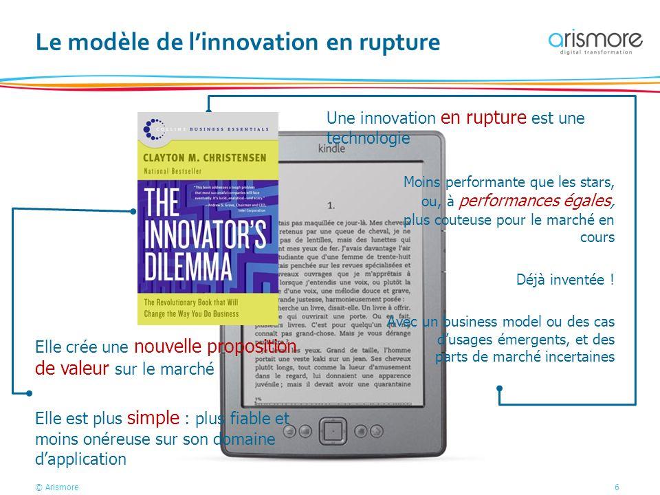 © Arismore6 Une innovation en rupture est une technologie Le modèle de linnovation en rupture Elle crée une nouvelle proposition de valeur sur le marc