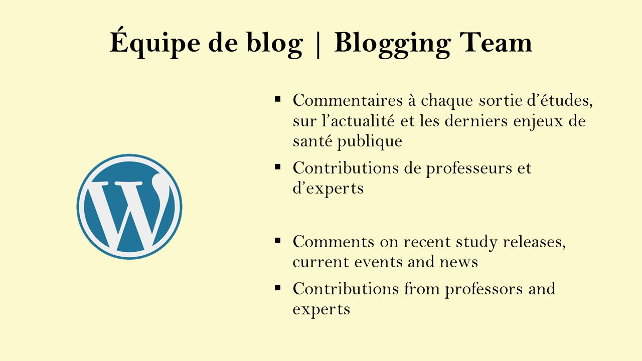 Commentaires à chaque sortie détudes, sur lactualité et les derniers enjeux de santé publique Contributions de professeurs et dexperts Comments on recent study releases, current events and news Contributions from professors and experts Équipe de blog | Blogging Team