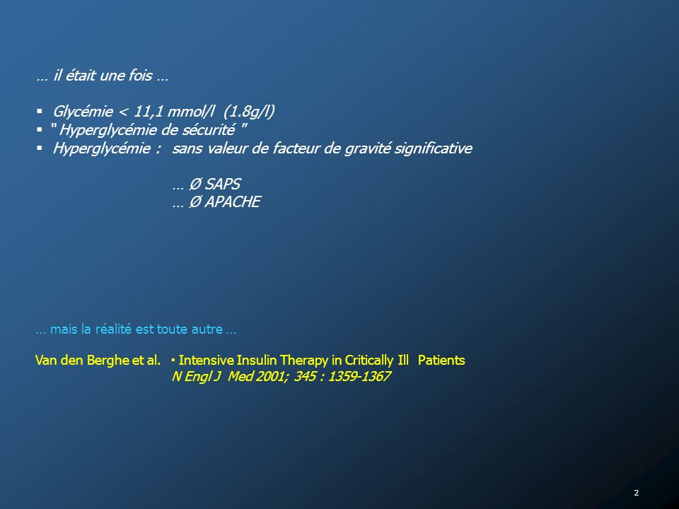 13 MésureRésultatCAT Glycémie [G] à ladmission [G] > 11,1 mmol/l ([G]> 220 mg/dl) 6,1 < [G] < 11, 1 mmol/l (110 < [G] < 220 mg/dl) [G] < 6,1 mmol/l ([G] < 110 mg/dl) IO 2 – 4 UI/h, voire plus … IO 1 – 2 UI/h Pas IO Surveillance [G] / 4h Surveillance [G] 1 x / 2h jusquà normalisation [G] > 7,8 mmol/l ([G] > 140mg/dl) 6,1 < [G] < 7,8 mmol/l (110 < [G] < 140 mg/dl) [G] presque normalisé IO de 1 – 2 UI/h IO de 0,5 – 1 UI/h Adaptation IO par 0,1 – 0,5 UI/h Surveillance [G] 1 x / 4h IO = insuline ordinaire [G] presque normalisé [G] normale 3,3 < [G] < 4,4 mmol/l (60 < [G] < 80 mg/dl ) 2,2 < [G] < 3,3 mmol/l (40 < [G] < 60 mg/dl) [G] < 2,2 mmol/l ([G] < 40 mg/dl) Adaptation IO par 0,1 – 0,5 UI/h IO inchangé IO à diminuer, contrôle [G] à 1h IO stop, augmenter apport Glucose, contrôle [G] à 1h IO stop, augmenter apport Glucose, bolus glucose IV (par 10g), contrôle [G] à 1h Stratégie Thérapeutique [2] 4,4 < glycémie < 6,1 mmol/l (80 < glycémie < 110 mg/dl)
