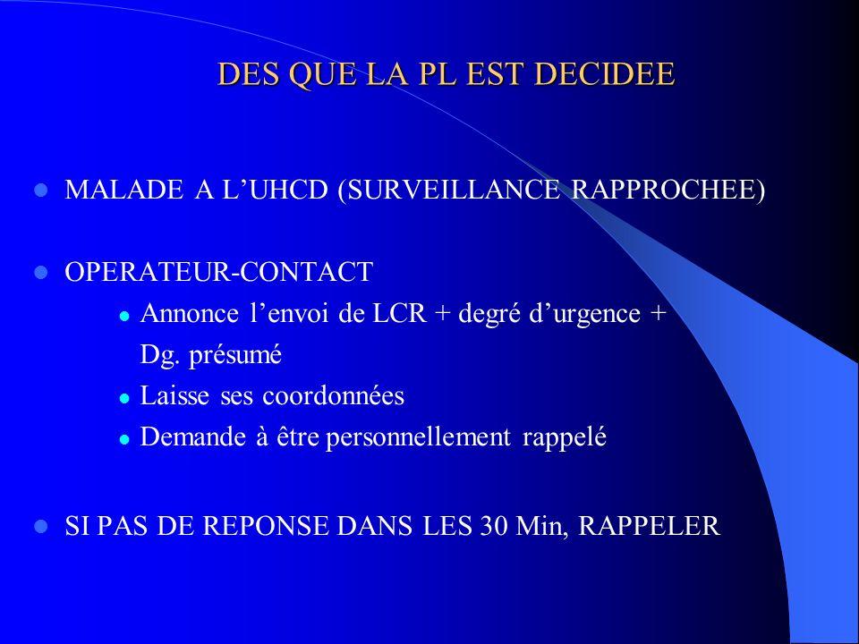 DES QUE LA PL EST DECIDEE MALADE A LUHCD (SURVEILLANCE RAPPROCHEE) OPERATEUR-CONTACT Annonce lenvoi de LCR + degré durgence + Dg. présumé Laisse ses c