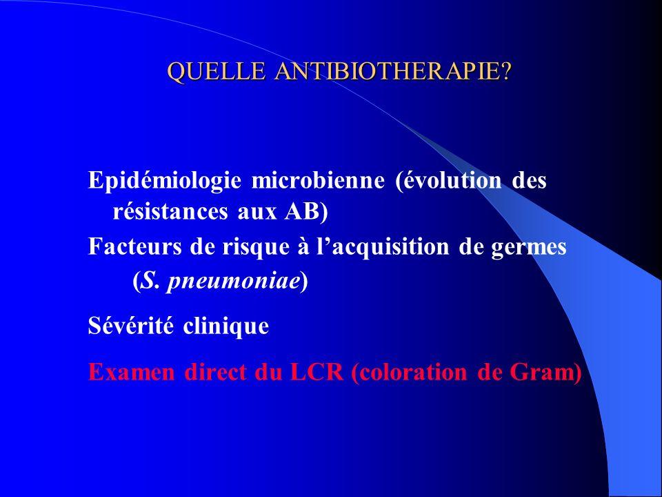 QUELLE ANTIBIOTHERAPIE? Epidémiologie microbienne (évolution des résistances aux AB) Facteurs de risque à lacquisition de germes (S. pneumoniae) Sévér