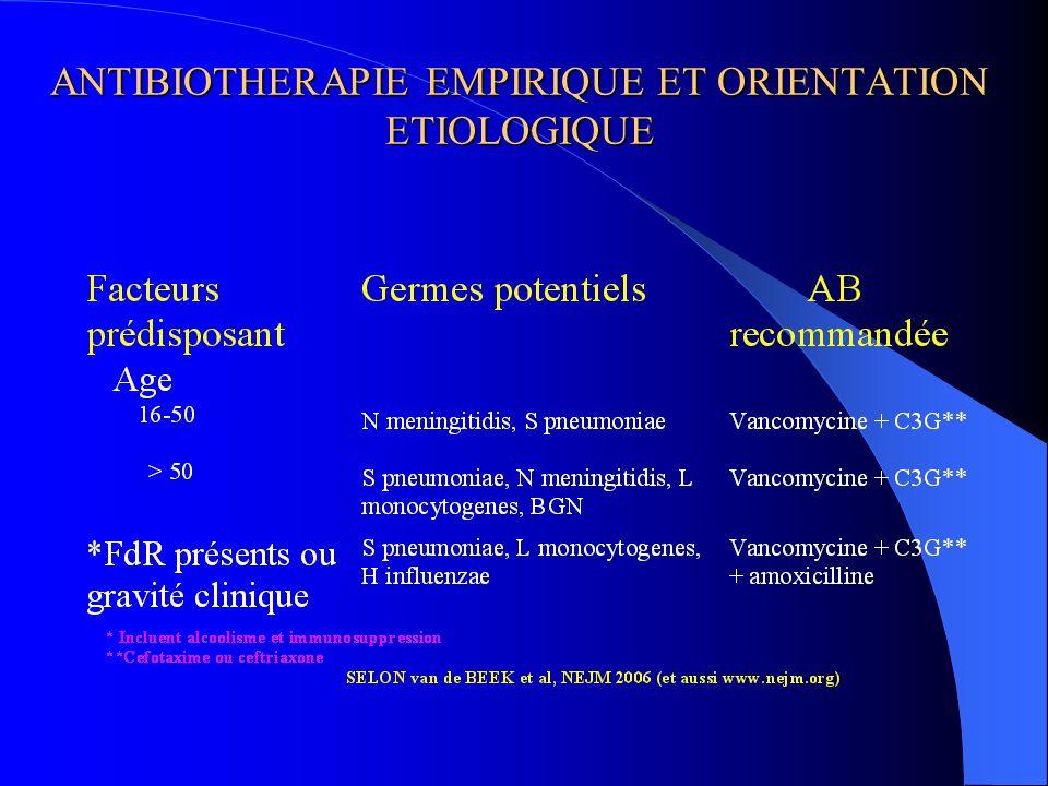ANTIBIOTHERAPIE EMPIRIQUE ET ORIENTATION ETIOLOGIQUE