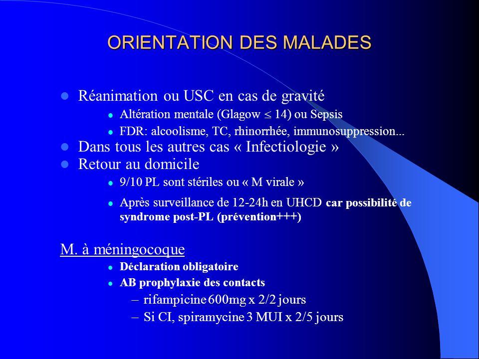 ORIENTATION DES MALADES Réanimation ou USC en cas de gravité Altération mentale (Glagow 14) ou Sepsis FDR: alcoolisme, TC, rhinorrhée, immunosuppressi