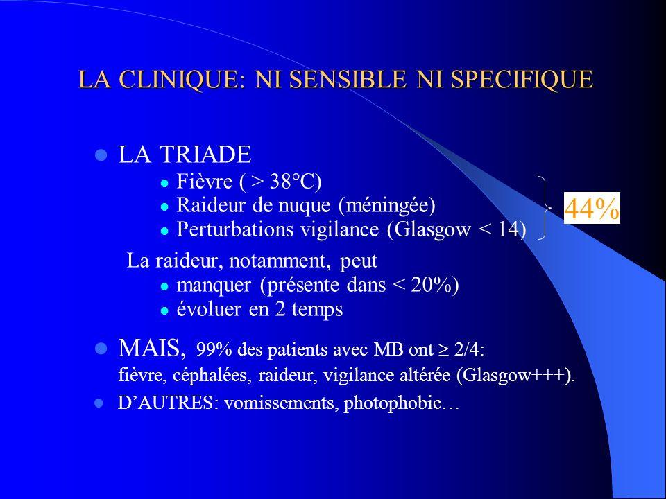 LA CLINIQUE: NI SENSIBLE NI SPECIFIQUE LA TRIADE Fièvre ( > 38°C) Raideur de nuque (méningée) Perturbations vigilance (Glasgow < 14) La raideur, notam