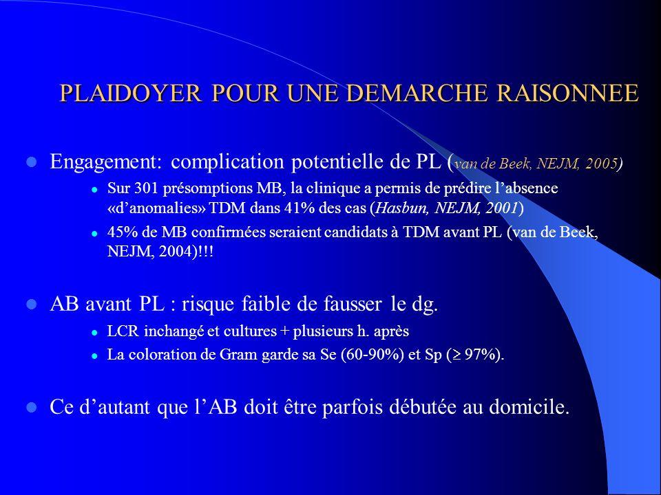 PLAIDOYER POUR UNE DEMARCHE RAISONNEE PLAIDOYER POUR UNE DEMARCHE RAISONNEE Engagement: complication potentielle de PL ( van de Beek, NEJM, 2005) Sur