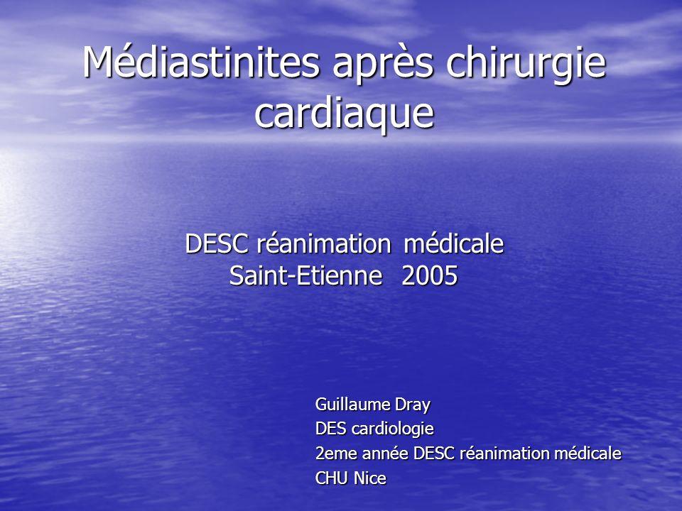Médiastinites après chirurgie cardiaque DESC réanimation médicale Saint-Etienne 2005 Guillaume Dray DES cardiologie 2eme année DESC réanimation médicale CHU Nice