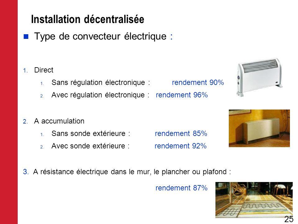 Installation décentralisée Type de convecteur électrique : 1. Direct 1. Sans régulation électronique :rendement 90% 2. Avec régulation électronique :