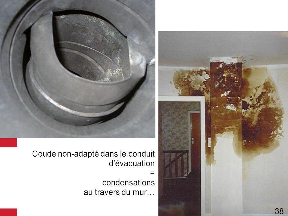 Coude non-adapté dans le conduit dévacuation = condensations au travers du mur… 38
