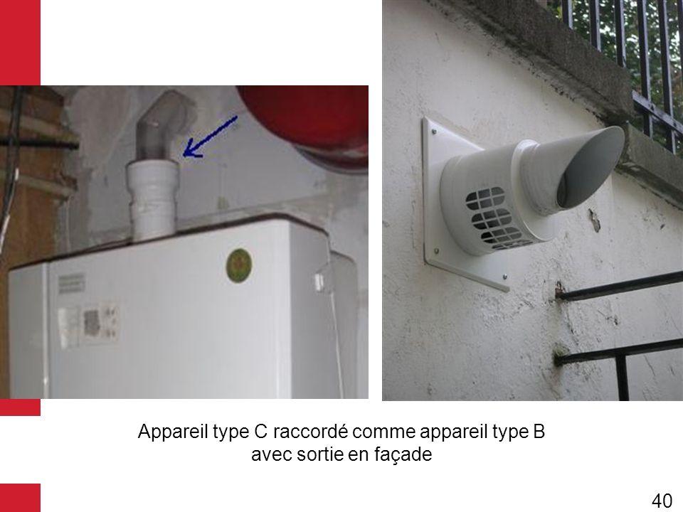 Appareil type C raccordé comme appareil type B avec sortie en façade 40