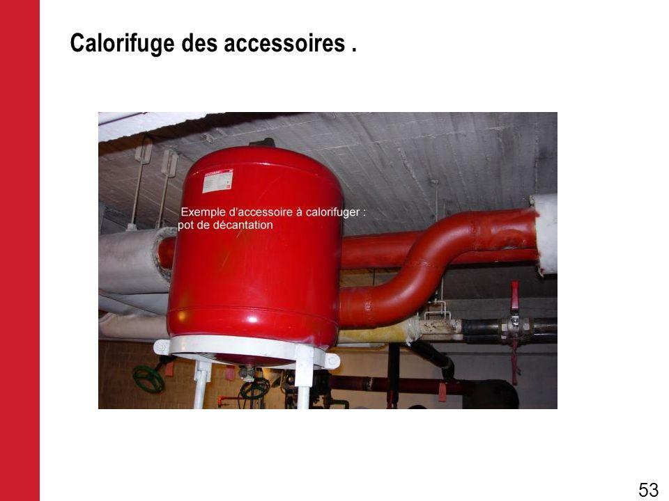 Calorifuge des accessoires. 53