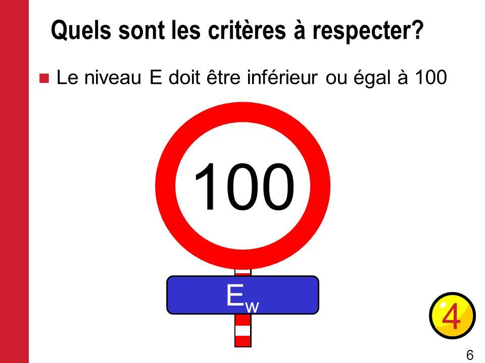 6 Quels sont les critères à respecter? Le niveau E doit être inférieur ou égal à 100 4 100 EwEw