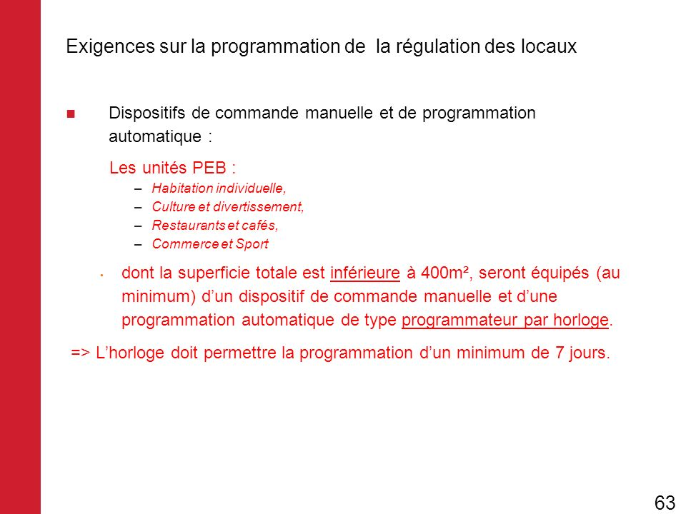 Exigences sur la programmation de la régulation des locaux Dispositifs de commande manuelle et de programmation automatique : Les unités PEB : –Habita