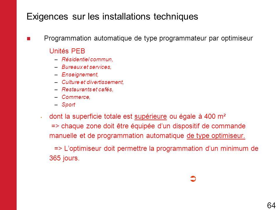Exigences sur les installations techniques Programmation automatique de type programmateur par optimiseur Unités PEB –Résidentiel commun, –Bureaux et