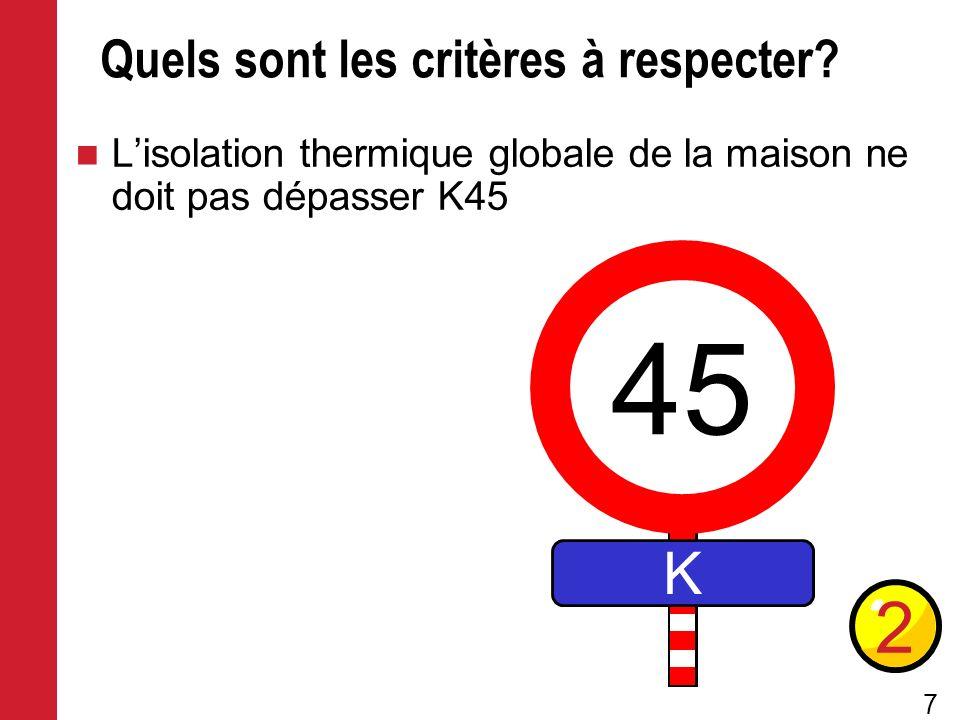 7 Quels sont les critères à respecter? Lisolation thermique globale de la maison ne doit pas dépasser K45 2 45 K
