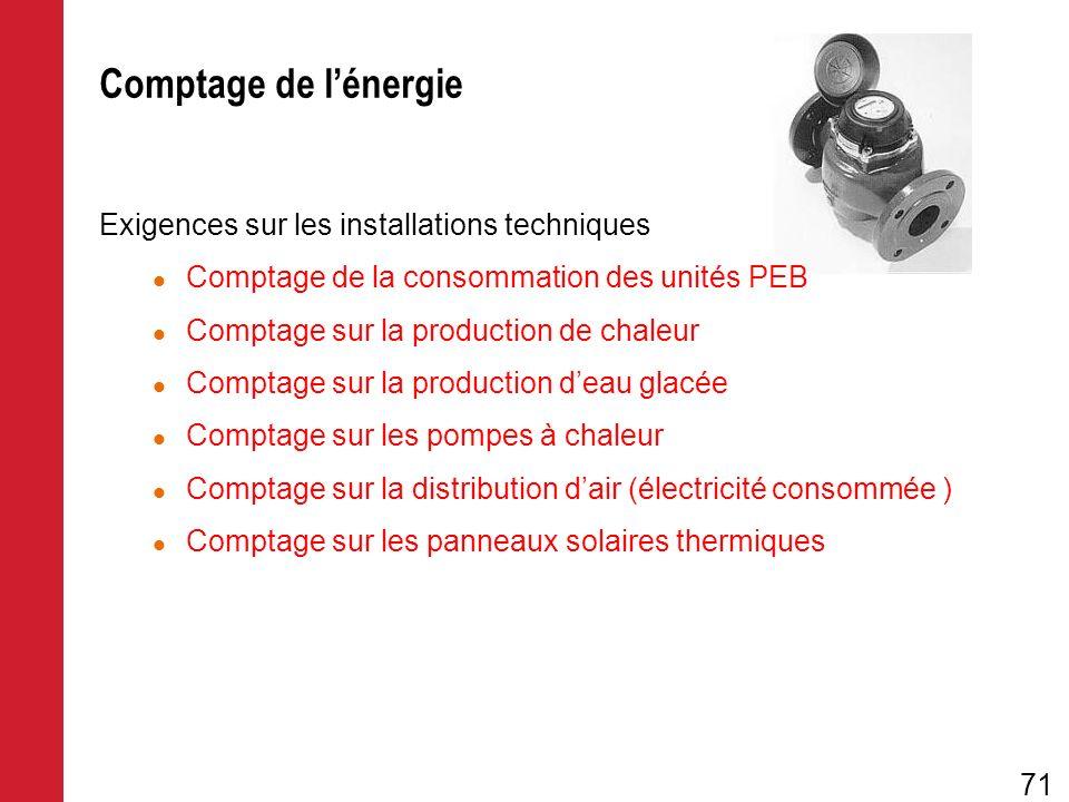 Exigences sur les installations techniques Comptage de la consommation des unités PEB Comptage sur la production de chaleur Comptage sur la production