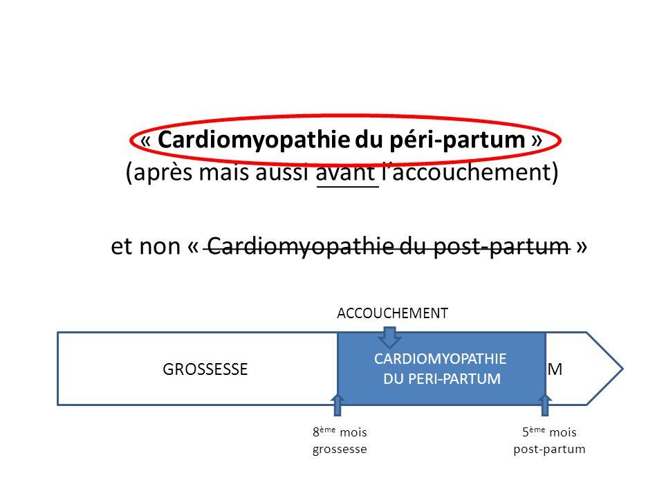 « Cardiomyopathie du péri-partum » (après mais aussi avant laccouchement) et non « Cardiomyopathie du post-partum » ACCOUCHEMENT GROSSESSE POST-PARTUM