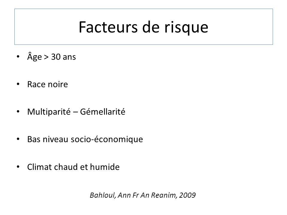 Facteurs de risque Âge > 30 ans Race noire Multiparité – Gémellarité Bas niveau socio-économique Climat chaud et humide Bahloul, Ann Fr An Reanim, 200