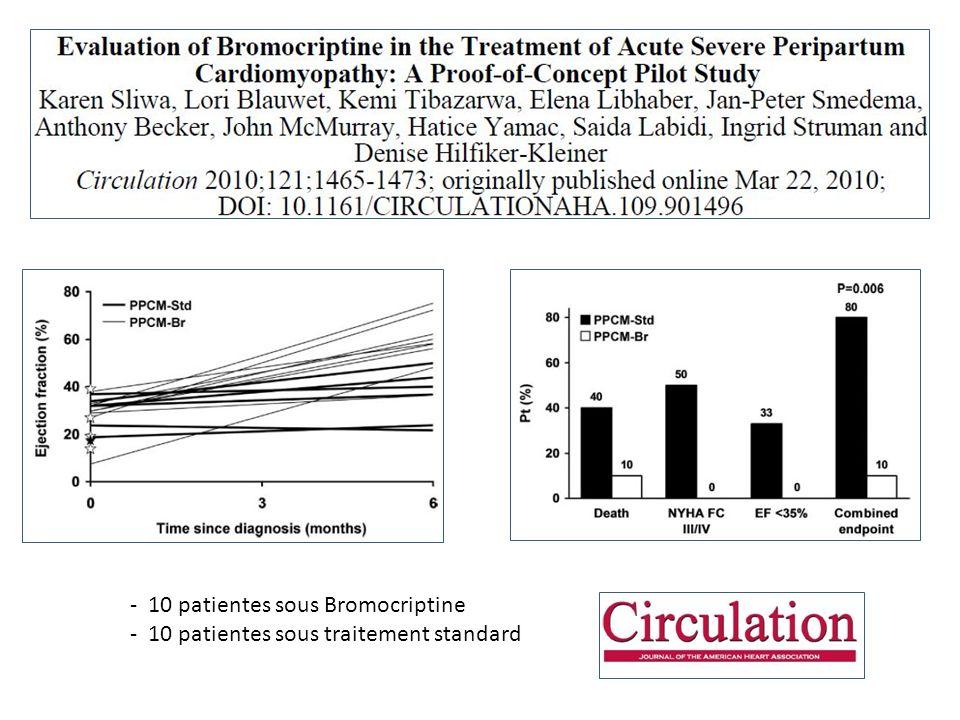 Essai Bromocriptine - 10 patientes sous Bromocriptine - 10 patientes sous traitement standard