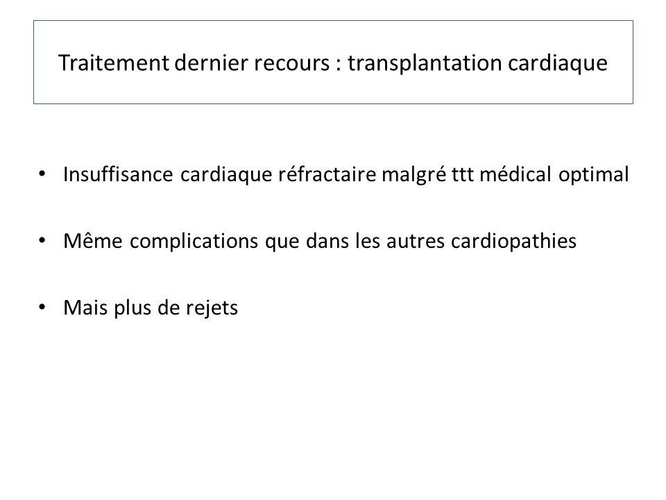 Traitement dernier recours : transplantation cardiaque Insuffisance cardiaque réfractaire malgré ttt médical optimal Même complications que dans les a