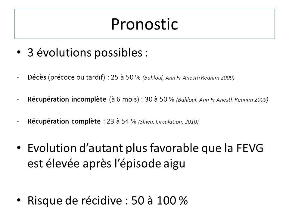 Pronostic 3 évolutions possibles : -Décès (précoce ou tardif) : 25 à 50 % (Bahloul, Ann Fr Anesth Reanim 2009) -Récupération incomplète (à 6 mois) : 3