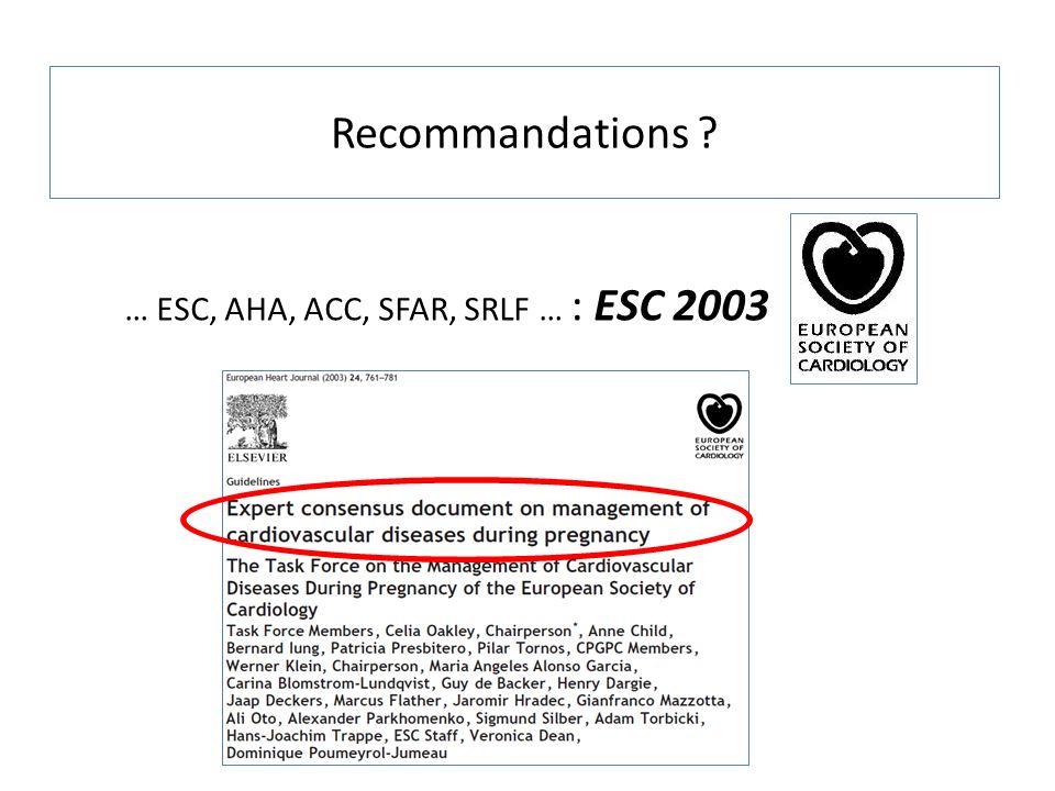 Recommandations ? … ESC, AHA, ACC, SFAR, SRLF … : ESC 2003